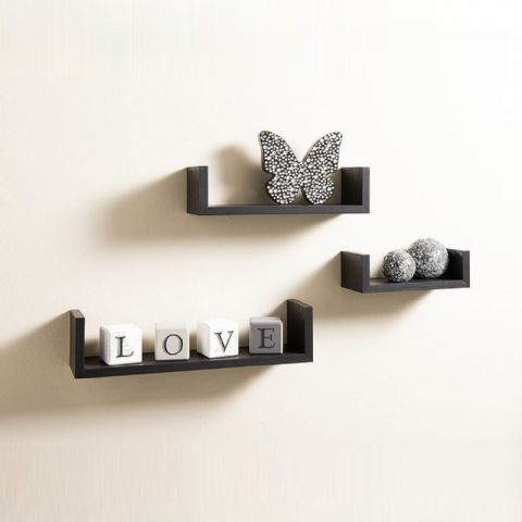 Set of 3 Black Floating Wall Shelves 42cm